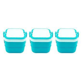 DMT ปิ่นโต 2ชั้น กล่องใส่อาหาร ถนอมอาหาร (สีฟ้า) จำนวน 3เถา