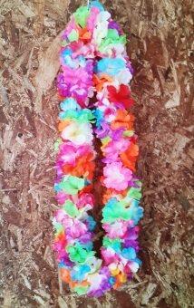 Dokpikul-พวงมาลัยฮาวาย กลีบดอกชบา แฟนซี คละสีสดใส เส้นรอบวง 100ซม. -หลากสี