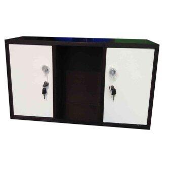 Kit shop ตู้ล๊อกเกอร์ ตู้เก็บของ ชั้นไม้เอนกประสงค์ 3 ช่อง รุ่น Box60 มีบานเปิดปิด (สีขาว/ลายไม้โอ๊ด)