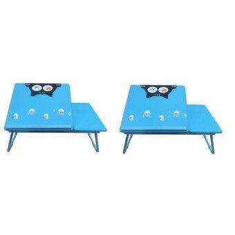 โต๊ะเอนกประสงค์ โต๊ะทำการบ้าน โต๊ะอ่านหนังสือ ลายเแมวเหมียว สำหรับเด็ก (สีฟ้า) 2 ตัว