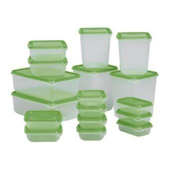 ชุด 17 ชิ้น กล่องพลาสติกใส่อาหาร เก็บได้ทั้งร้อนเย็น สำหรับใส่อาหารกลางวัน สามารถนำเข้าตู้เย็นใส่ในช่องแช่แข็ง และนำเข้าไมโครเวฟ สีเขียว