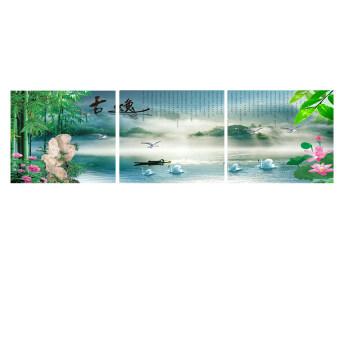 Tree Life รูปภาพสติ๊กเกอร์อเนกประสงค์ DIY ขนาด 40x120 cm รุ่น ภาพไม่มีกรอบ ภาพหงส์คู่_054 1 ชุด 3 ภาพ