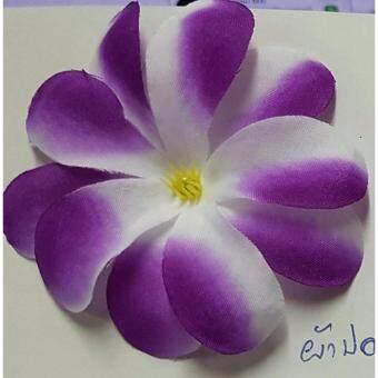 Dokpikul-หัวดอกลีลาวดี ดอกไม้ปลอม สีดอกกล้วยไม้ เกรดเอ ผ้านิ่ม แพค 100ดอก- สีม่วงลาย