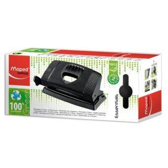 Maped - OFFICE, Essentials Green , 2-Hole Punch เครื่องเจาะรูกระดาษขนาดเล็กกระทัดรัด เจาะกระดาษได้ 10-12 แผ่น สามารถเลื่อนเพื่อปรับระดับของกระดาษได้ สีดำ
