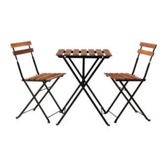 โต๊ะ+เก้าอี้ 2 ตัว กลางแจ้ง, ดำ ไม้อะคาเซีย, โลหะ ย้อมสีน้ำตาลเทา