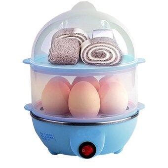HS เครื่องต้มไข่ หม้อนึ่งอเนกประสงค์ 2 ชั้น (Blue)