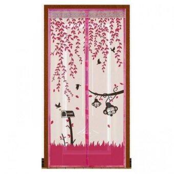 Punpuntoys ม่านประตูแถบแม่เหล็กกันยุง แม่เหล็ก 7 จุด ลายลิงน้อย (สีชมพู)