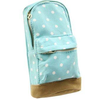 Sanwood มินิปากกาดินสอกระเป๋านักเรียนใบเคสเคสสีน้ำเงิน