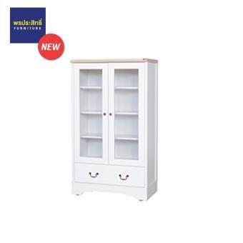 ASIA ตู้โชว์กระจกเอนกประสงค์ ขนาด 80 CM ผิวเมลามีน สี White/Solid