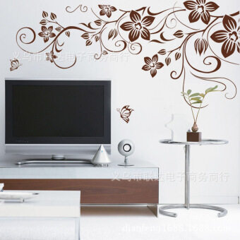 Harga The Sitting Rooms of Bed Decorative Stickers Brown Vines (Brown)
