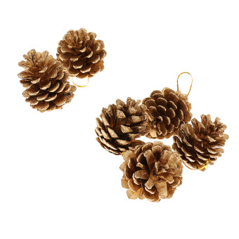 Harga MagiDeal 6X Christmas Ornament Festival Party Tree Hanging Pine Cone Decor XMAS Gold - intl
