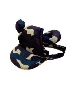 Dogacat หมวกสุนัข หมวกหมา หมวกแมว หมวกมีหู ลายทหาร size 3 - สีเขียว