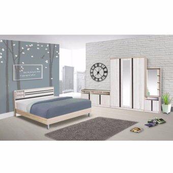 RF Furniture ชุดห้องนอน สีโซลิด/ดำ ขนาด 5 ฟุต + ตู้เสื้อผ้า 3 บาน + โต๊ะแป้งยืน60 cm + ตู้วางทีวี 120 cm + ที่นอนสปริง ( สีโซลิค/ดำ )