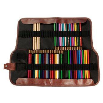 กระเป๋าถือหนังผ้าใบภาพเขียนเคสกระเป๋าพับเก็บสำหรับดินสอ 72ชิ้น