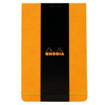 Rhodia - Webnotepad สมุดโน๊ตแบบฉีกได้ เนื้อกระดาษออย่างดี90 g 192หน้า กระดาษสีเหลืองนวล ถนอมสายตา มีเส้น ปกหนังสีส้ม พร้อมสายรัด ด้านหลังมีที่เก็บนามบัตร(Orange A5)