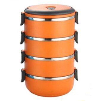 HS Circular Stainless Steel Lunch Box ปิ่นโตสูญญากาศ ทรงกลม 4 ชั้น (Orange)