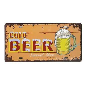 ป้ายสังกะสวินเทจ Cold Beer Served Here