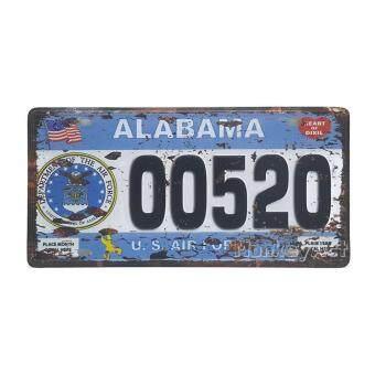 ป้ายสังกะสีวินเทจ Alabama 00520, U.S. Air Force (ปั๊มนูน)