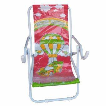 Grace Shop เก้าอี้นั่ง เก้าอี้นั่งเหล็กปรับนอน รุ่น พับได้ (สีขาว/ผ้าลายแดง)