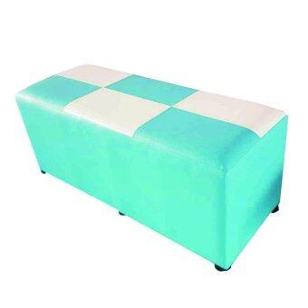 Grace Shop เก้าอี้ ทรงสตูล เบาะสี่เหลี่ยม ยาว 100 ซม. รุ่น Stool 1 (สีฟ้า/ขาว)