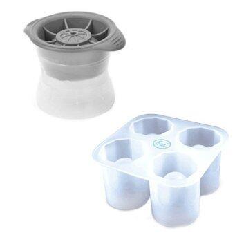 ไอซ์บอลที่ทำน้ำแข็งก้อนกลม 6 ซม. ซิลิโคน+พลาสติก (แบบต่อกันได้) ( ICE BALL ) +ที่ทำน้ำแข็งรูปแก้วช๊อต ซิลิโคน