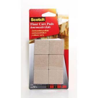 Scotch® Floor Care Square Beige 34 MM (12 PCS/CARD)(100430037) สก๊อตซ์® สักหลาดรองขาโต๊ะ แบบมีกาวในตัว ขนาด 34 มม. สีเบจ (สี่เหลี่ยม) (ชุด 3 แพ็ค)