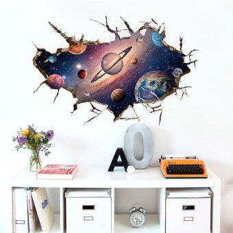 จิตรกรรมฝาผนังฝีมือด้วย 3D คอสโมอวกาศโลกสติ๊กเกอร์ติดผนังสำหรับเด็กห้องสวยงาม Galaxy สติกเกอร์การตกแต่งบ้านของขวัญสำหรับเด็ก WS230