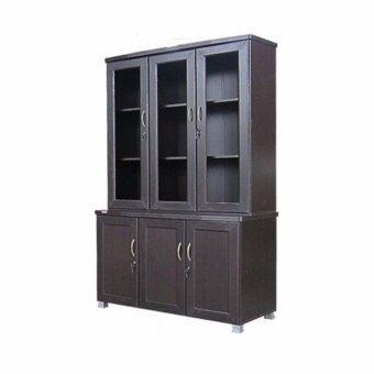 RF Furniture ตู้โชว์FL120A2 2 ท่อนบน+ล่างแยกชิ้นได้ ขนาด 120 cm ( สีโอ๊ค )