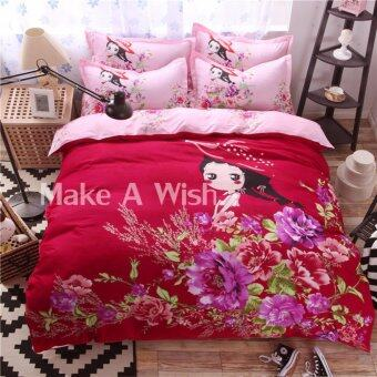 Lily ผ้าปูที่นอน 6 ฟุต 5 ชิ้น + ผ้านวม เกรด A รุ่น PR065