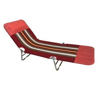 SMH เตียงนอนพับได้ 3 พับ ผ้าขนปุย รุ่น Picnic-Red (สีแดง)