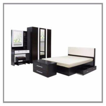 RF Furniture ชุดห้องนอน DD รุ่น Milano Set ขนาด 5 ฟุต เตียง 5 ฟุต + ตู้เสื้อผ้า 3 บาน + โต๊ะแป้ง 80 cm ( สีโอ๊ค/ขาว )