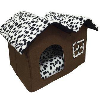 PetInspire บ้านแมว บ้านหมา ที่นอนสัตว์เลี้ยงรูปบ้าน 50x40x35 cm.High-end Double Pet House (สีขาวดำลายจุด)