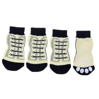 Gracefulvara 4ชิ้นน่ารักสัตว์เลี้ยงสุนัขรูปแบบลื่นถุงเท้ารองเท้าครอบคลุมเท้าขนาด XL
