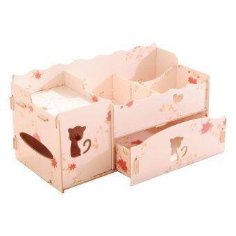 IdeaAye กล่องไม้ ใส่ของ ของจุกจิก เครื่องประดับ กล่องทิชชู่ (สีชมพูลายดอกไม้)
