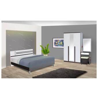 RF Furniture ชุดห้องนอนระแนง 5 ฟุต เตียง 5 ฟุต + ตู้เสื้อผ้า 3 บาน + โต๊ะแป้ง 60 cm + ที่นอนสปริง ( โอ๊ค / ขาว )