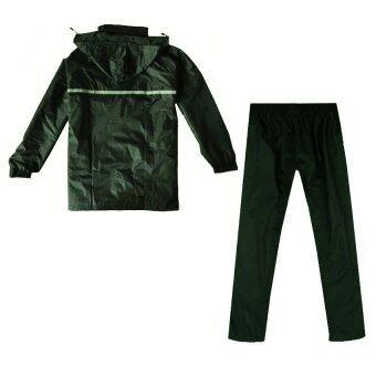 ชุดกันฝน มีแถบสะท้อนแสง เสื้อคลุม + กางเกง ขนาดฟรีไซส์ (สีเขียวเข้ม)
