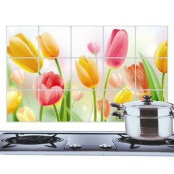ความงามน้ำมัน Hequ อะลูมิเนียมสติกเกอร์ติดผนังห้องครัวดอกไม้การตกแต่งหลักฐาน #03