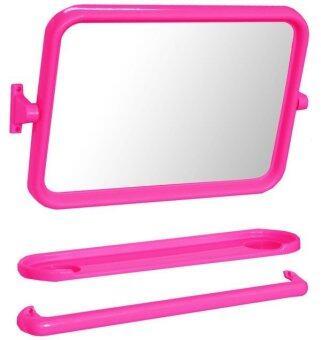 Elegance Wondergirl ชุดกระจกและชั้นวางของในห้องน้ำ 3 ชิ้น - สีชมพู
