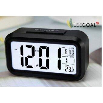 Leegoal นาฬิกาปลุก led แบบกับขาวสว่างอุณหภูมิตอนกลางวัน (สีดำ) (ในประเทศ)