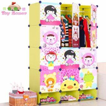 Toyzoner ตู้อเนกประสงค์ DIY Cabinet Lockers Wardorbe 15 ช่อง รุ่น LN006-1 (สีเขียว)