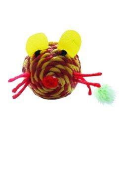 Dogacat ของเล่นแมว ตุ๊กตาหนูเชือกสาน - สีเหลืองแดง