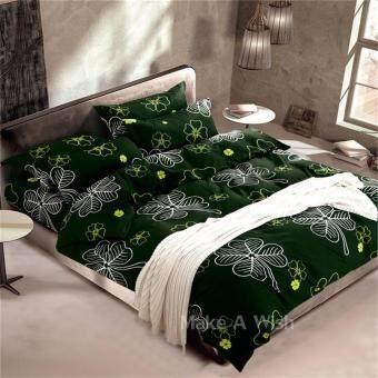 Lily ผ้าปูที่นอน 6 ฟุต 5 ชิ้น + ผ้านวม เกรดเอ รุ่น PR032 - สีเขียวเข้ม