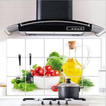 Audew สติกเกอร์ติดผนังห้องครัวรูปแบบผลไม้น้ำมันร้อนฟอยล์ป้องกันการตกแต่ง - intl
