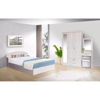 RF Furniture ชุดห้องนอน BC501 5 ฟุต เตียง 5 ฟุต + ตู้เสื้อผ้า 3 บาน + โต๊ะแป้ง 60 cm + ที่นอนสปริง ( สีโซลิค )