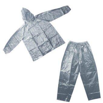 ชุดกันฝน เสื้อกันฝน กางเกงกันฝน ผ้ามุก ขนาดฟรีไซส์ - สีเงิน