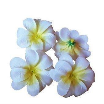 Dokpikul-หัวดอกลีลาวดี ดอกไม้ผ้า ประดิษฐ์ ขนาดเส้นผ่าศูนย์กลาง 7ซม. แพค 100ดอก-สีขาวกลางเหลือง