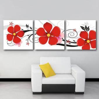 RINDA กรอบรูป รูปติดผนังพร้อมแขวน กรอบลอย กรอบรูปผ้าแคนวาส กรอบไม้ รูปภาพสวยๆ พร้อมกรอบ ภาพมงคล รูปติดผนังกรอบลอย ดอกไม้สีแดง 3 ดอก3ชิ้น ผ้าแคนวาส 40*40 cm