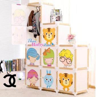 ThaiBabyZone ตู้เสื้อผ้าเด็ก ลายการ์ตูน DIY แบบโครงไม้ 9 ช่อง
