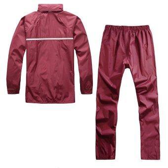 ชุดกันฝน มีแถบสะท้อนแสง เสื้อคลุม + กางเกง ขนาดฟรีไซส์ (สีแดงเข้ม)