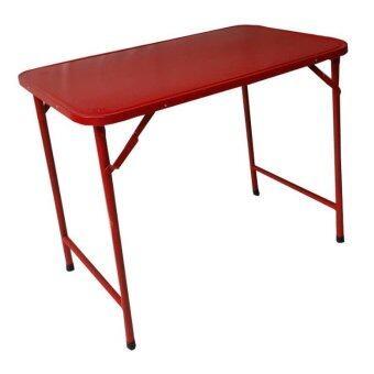 Asia โต๊ะพับหน้าเหล็ก T36 ขาสวิง 3 ฟุต สีแดง